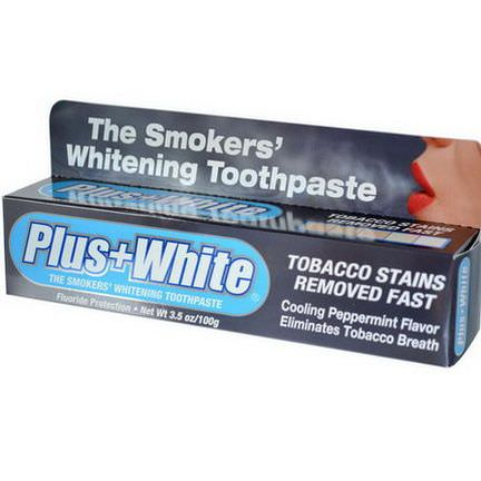 Plus White, The Smokers'Whitening Toothpaste, Cooling Peppermint Flavor 100g