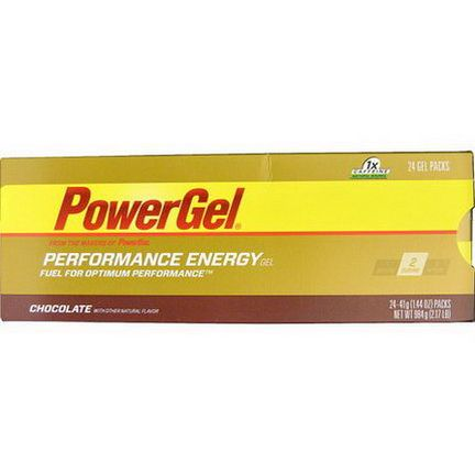 PowerBar, PowerGel, Chocolate, 24 Gel Packs 41g Each