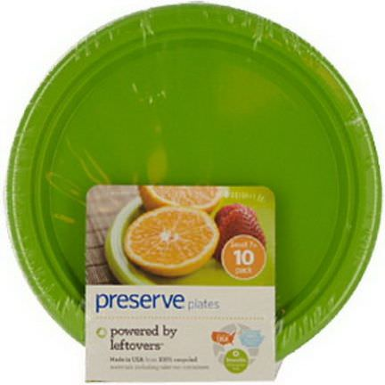 Preserve, Plates, Reusable, Apple Green, Small, 10 Pack, 7 in