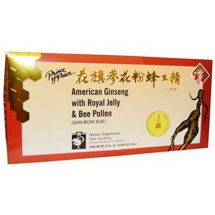 Prince of Peace, American Ginseng with Royal Jelly&Bee Pollen, 10 Bottles 10 cc Each
