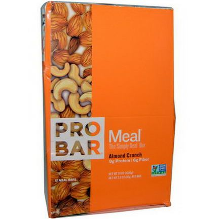 ProBar, Meal, The Simply Real Bar, Almond Crunch, 12 Meal Bars 85g Each
