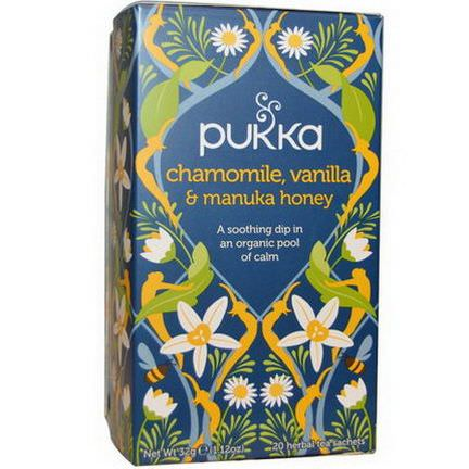 Pukka Herbs, Chamomile, Vanilla&Manuka Honey Tea, Caffeine Free, 20 Herbal Tea Sachets 32g