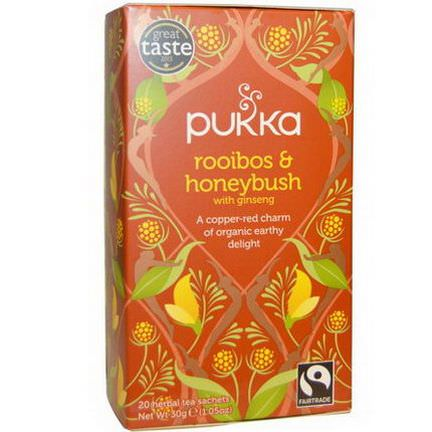 Pukka Herbs, Rooibos&Honeybush with Ginseng Tea, Caffeine Free, 20 Herbal Tea Sachets 30g