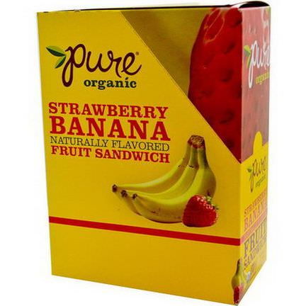 Pure Bar, Organic, Fruit Sandwich, Strawberry Banana, 20 Bars 18g Each