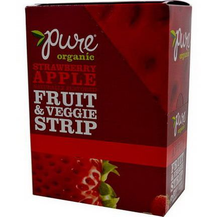 Pure Bar, Organic, Fruit&Veggie Strip, Strawberry Apple Naturally Flavored, 24 Bars 14g Each