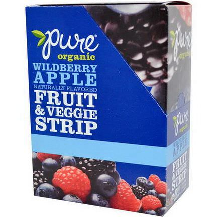 Pure Bar, Organic, Fruit&Veggie Strip, Wildberry Apple, 24 Bars 14g Each