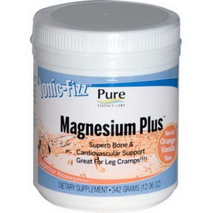 Pure Essence, Ionic-Fizz, Magnesium Plus, Orange-Vanilla 342g