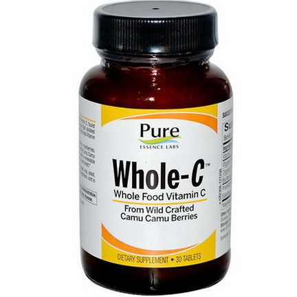 Pure Essence, Whole C, Whole Food Vitamin C, 30 Tablets