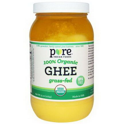 Pure Indian Foods, Ghee, 100% Organic Grass-Fed 425g