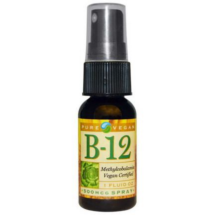 Pure Vegan, B-12, Spray, 500mcg, 1 fl oz