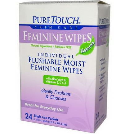 PureTouch Skin Care, Feminine Wipes, 24 Single Use Packets