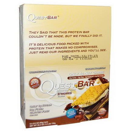 Quest Nutrition, Protein Bar, S'mores Flavor, 12 Bars 60g Each
