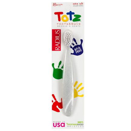 RADIUS, Totz Toothbrush, 18 Months, Extra Soft, Clear Sparkle