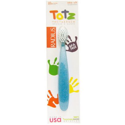 RADIUS, Totz Toothbrush, 18 Months, Extra Soft, Light Blue Sparkle