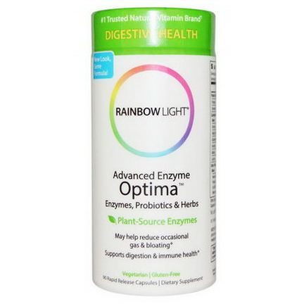 Rainbow Light, Advanced Enzyme Optima, Enzymes, Probiotics&Herbs, 90 Rapid Release Capsules