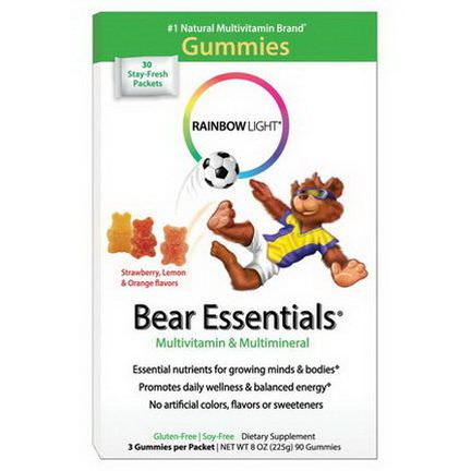 Rainbow Light, Bear Essentials, Multivitamin&Multimineral, Gummies, Strawberry, Orange,&Lemon Flavors, 3 Gummies Per Packet, 90 Gummies
