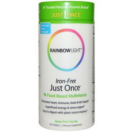 Rainbow Light, Just Once Iron-Free, Food-Based Multivitamin, 60 Tablets