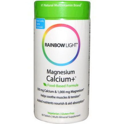 Rainbow Light, Magnesium Calcium+, Food-Based Formula, 90 Tablets