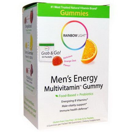 Rainbow Light, Men's Energy Multivitamin Gummy, Delicious Orange Zest Flavor, 30 Packets