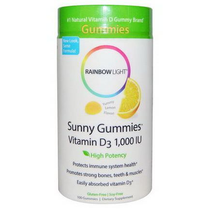 Rainbow Light, Sunny Gummies Vitamin D3, Yummy Lemon Flavor, 1,000 IU, 100 Gummies