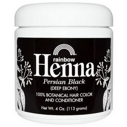 Rainbow Research, Henna, 100% Botanical Hair Color&Conditioner Deep Ebony 113g Powder