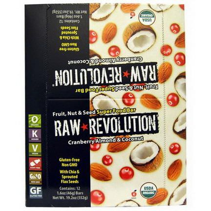 Raw Revolution, Fruit, Nut&Seed Super Food Bar, Cranberry Almond&Coconut, 12 Bars 46g Each