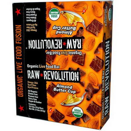 Raw Revolution, Organic Live Food Bar, Almond Butter Cup, 12 Bars 51g Each
