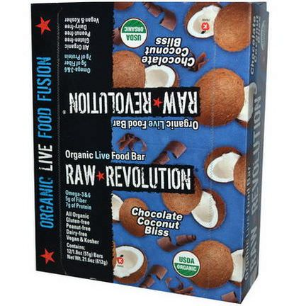 Raw Revolution, Organic Live Food Bar, Chocolate Coconut Bliss, 12 Bars 51g Each