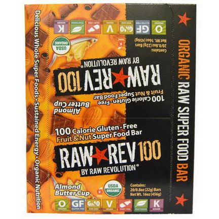 Raw Revolution, Raw Rev 100, Fruit&Nut Super Food Bar, Almond Butter Cup, 20 Bars 22g Each