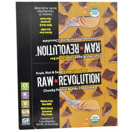 Raw Revolution, Super Food Bar, Chunky Peanut Butter Chocolate, 12 Bars 46g Each