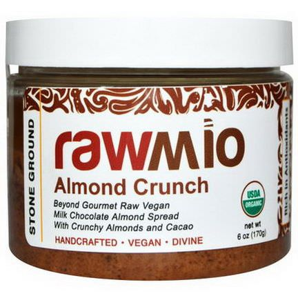 Rawmio, Almond Crunch, Chocolate Almond Spread with Crunchy Almonds and Cacao 170g