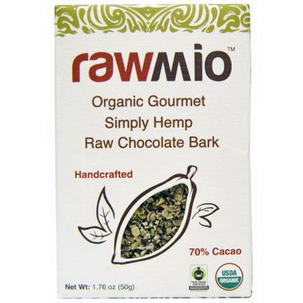 Rawmio, Organic Gourmet Simply Hemp Raw Chocolate Bark 50g