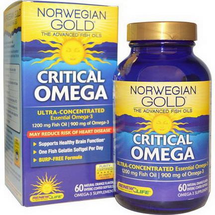 Renew Life, Critical Omega, Ultra-Concentrated, Natural Orange Flavor, 1200mg, 60 Enteric-Coated Softgels