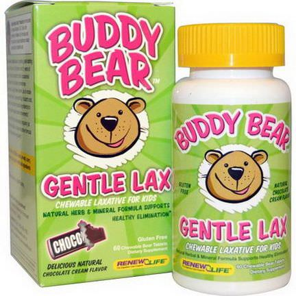 Renew Life, Kids, Buddy Bear Gentle Lax, Chocolate Cream Flavor, 60 Chewable Bear Tablets