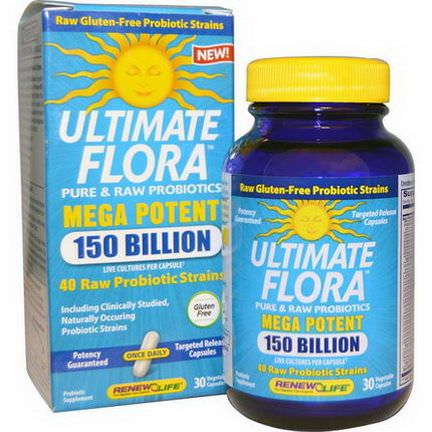 Renew Life, Ultimate Flora, Mega Potent, 150 Billion, 30 Veggie Caps