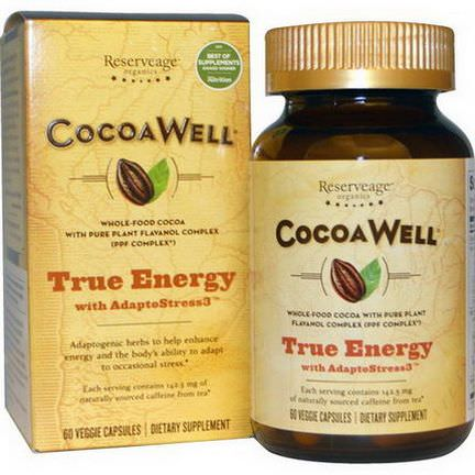 ReserveAge Nutrition, CocoaWell, True Energy, with AdaptoStress3, 60 Veggie Caps