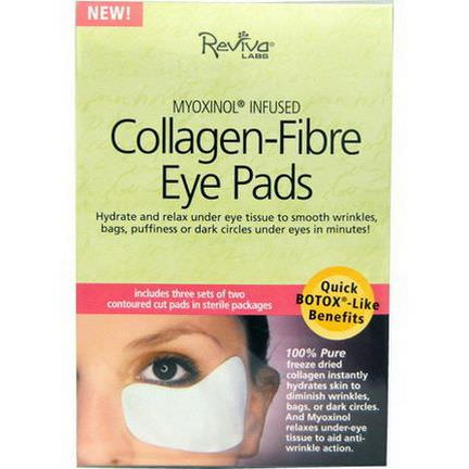 Reviva Labs, Collagen-Fiber Eye Pads, 3 Sets of Two Contoured Pads