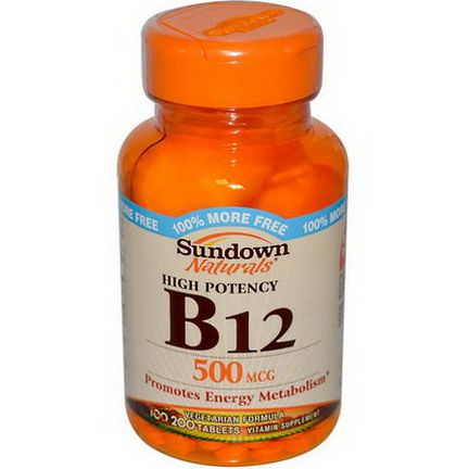 Rexall Sundown Naturals, B-12, High Potency, 500mcg, 200 Tablets