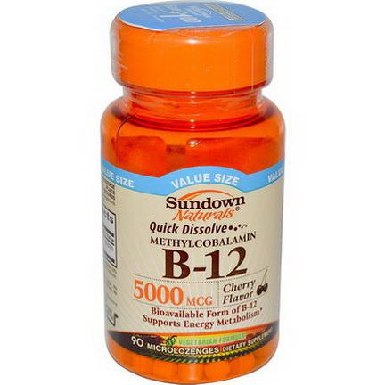 Rexall Sundown Naturals, B-12 Methylcobalamin, Cherry Flavor, 5000mcg, 90 Microlozenges