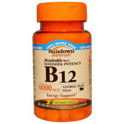 Rexall Sundown Naturals, B12, Maximum Potency, Natural Cherry Flavor, 6000mcg, 60 Microlozenges