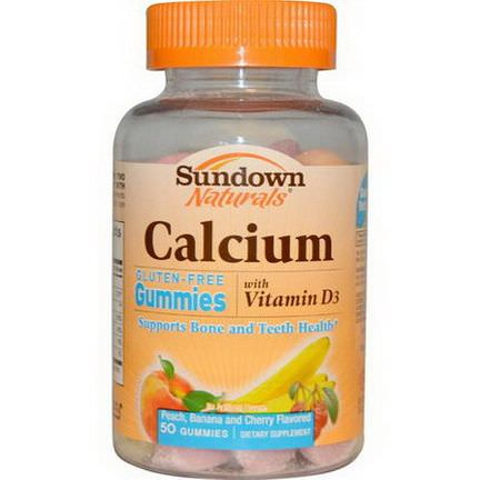Rexall Sundown Naturals, Calcium Gummies, Peach, Banana and Cherry Flavored, Gluten-Free, 50 Gummies