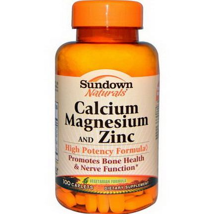 Rexall Sundown Naturals, Calcium Magnesium and Zinc, 100 Caplets
