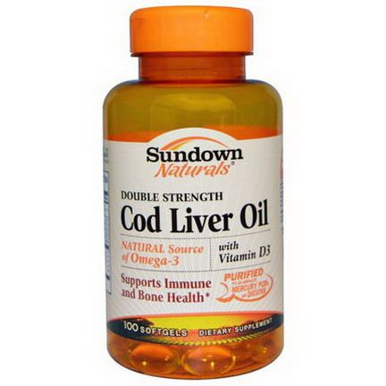 Rexall Sundown Naturals, Cod Liver Oil, Double Strength, With Vitamin D3, 100 Softgels