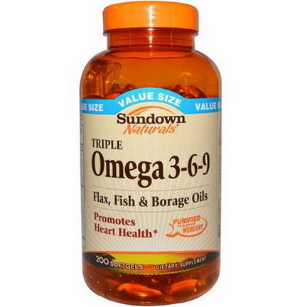 Rexall Sundown Naturals, Triple Omega 3-6-9, 200 Softgels