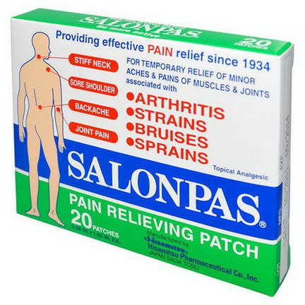 Salonpas, Pain Relieving Patch, 20 Patches, 2.56 in X 1.65 in Each