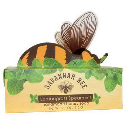 Savannah Bee Company Inc, Honey Bar Soap, Lemongrass Spearmint 212g