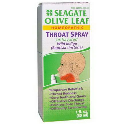 Seagate, Olive Leaf Throat Spray, Unflavored 30ml