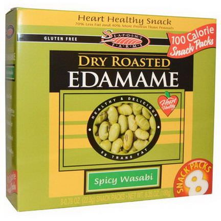 Seapoint Farms, Dry Roasted Edamame, Spicy Wasabi, 8 Snack Packs 22.5g Each