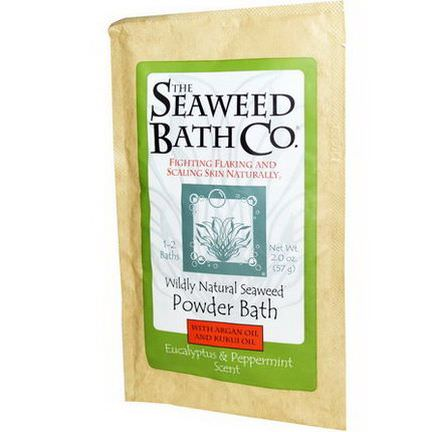 Seaweed Bath Co. Powder Bath with Argan Oil and Kukui Oil, Eucalyptus&Peppermint Scent 57g