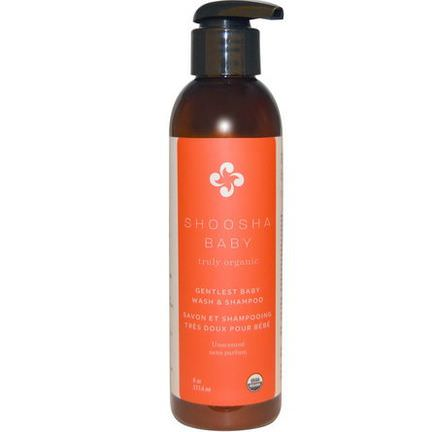 Shoosha, Organic, Gentlest Baby Wash&Shampoo, Unscented 177.4ml
